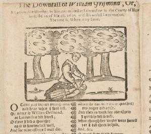 Section of Ballad Broadside depicting woodcut of murder scene, 1650