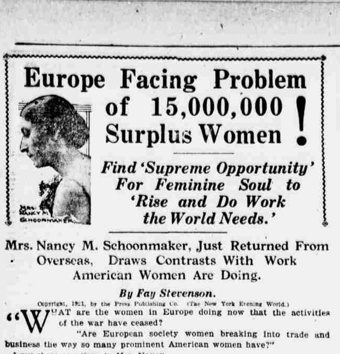 Clipping from 1921 NY newspaper with sensationalized title referencing the Surplus Women Problem in Europe following WWI