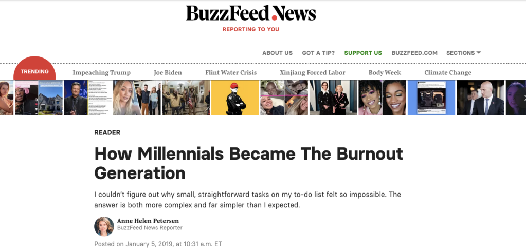 Screenshot of Peterson's article on BuzzFeed News website.