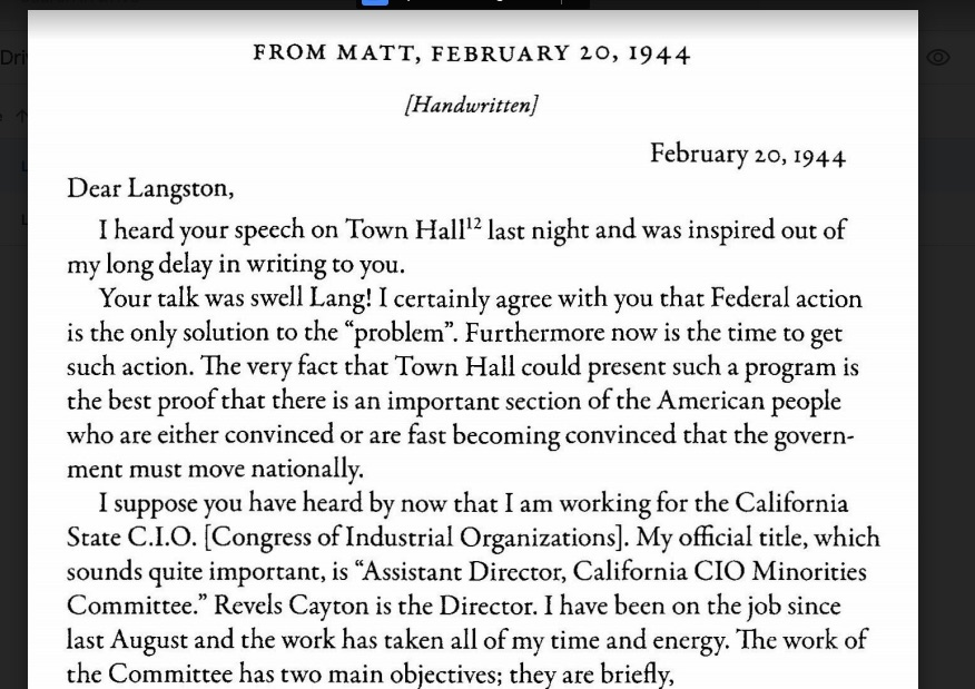 Partial page scan of printed letter to Langston Hughes in the 'Langston Hughes Letters' collection.