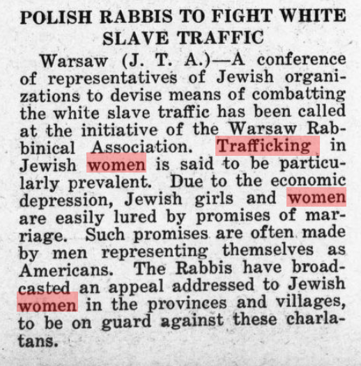 """News clipping with title: """"Polish Rabbis to Fight White Slave Traffic"""""""